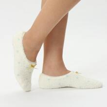 Bow Decor Fuzzy Socks