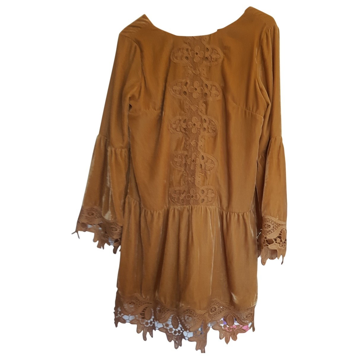 Non Signé / Unsigned Hippie Chic Velvet dress for Women 36 FR