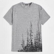 Men Tree Print Marled Knit Tee