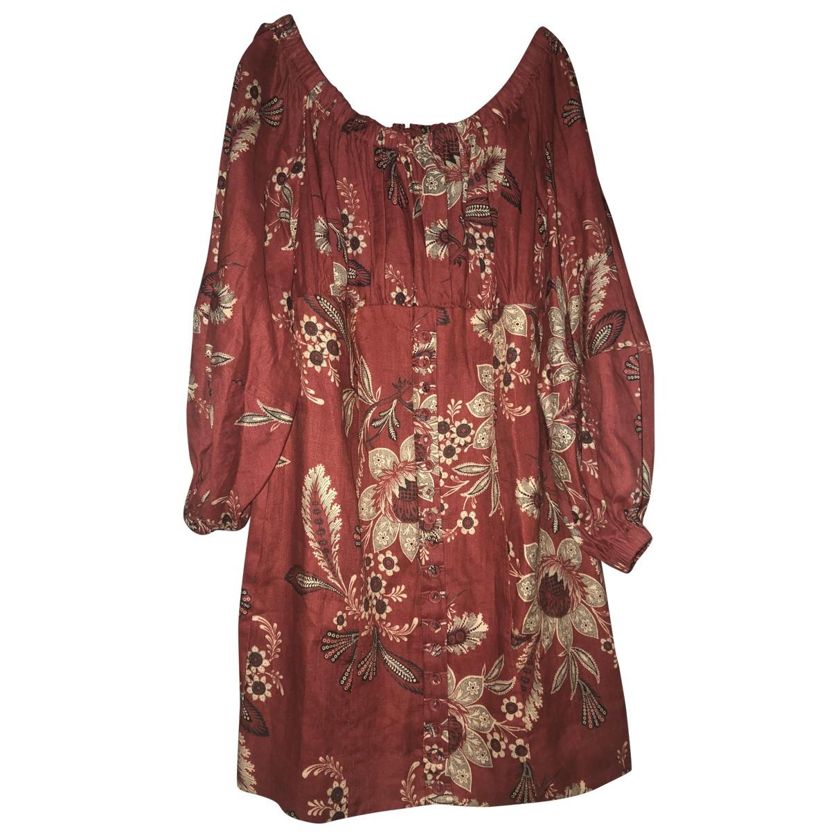 Zimmermann \N Kleid in  Bordeauxrot Leinen