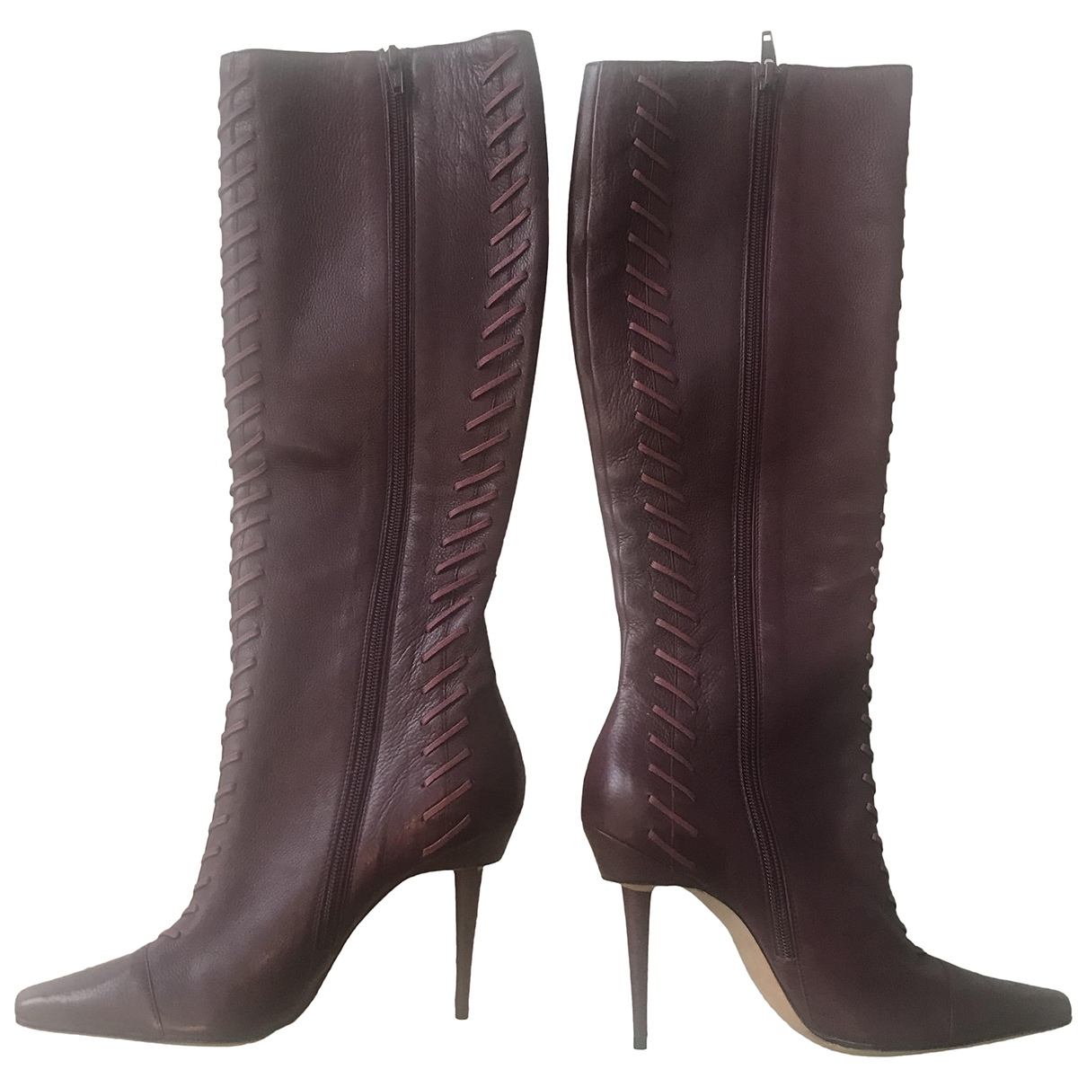 Manolo Blahnik \N Burgundy Leather Boots for Women 38 EU