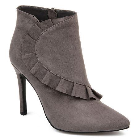 Journee Collection Womens Cress Stiletto Heel Zip Booties, 7 1/2 Medium, Gray