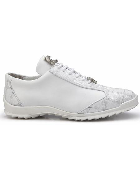 Men's Belvedere Paulo White Genuine Ostrich Calfskin Casual Sneakers