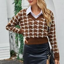 V Neck Houndstooth Crop Sweater