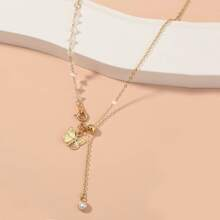 Metallische Halskette mit Schmetterling Dekor