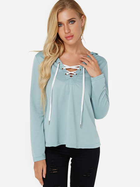 Yoins Green Deep V-neck Lace-up Design Long Sleeves Hoodie