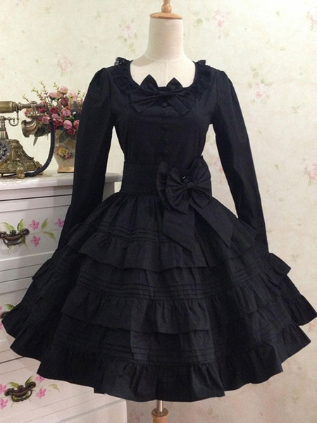 Milanoo Classic Lolita Dress Red Lolita Dress OP Cotton Long Sleeve Ruffle Tiered Lolita One Piece Dress