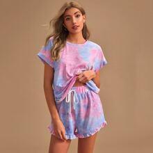 T-Shirt mit Batik und Shorts mit Rueschenbesatz Schlafanzug Set