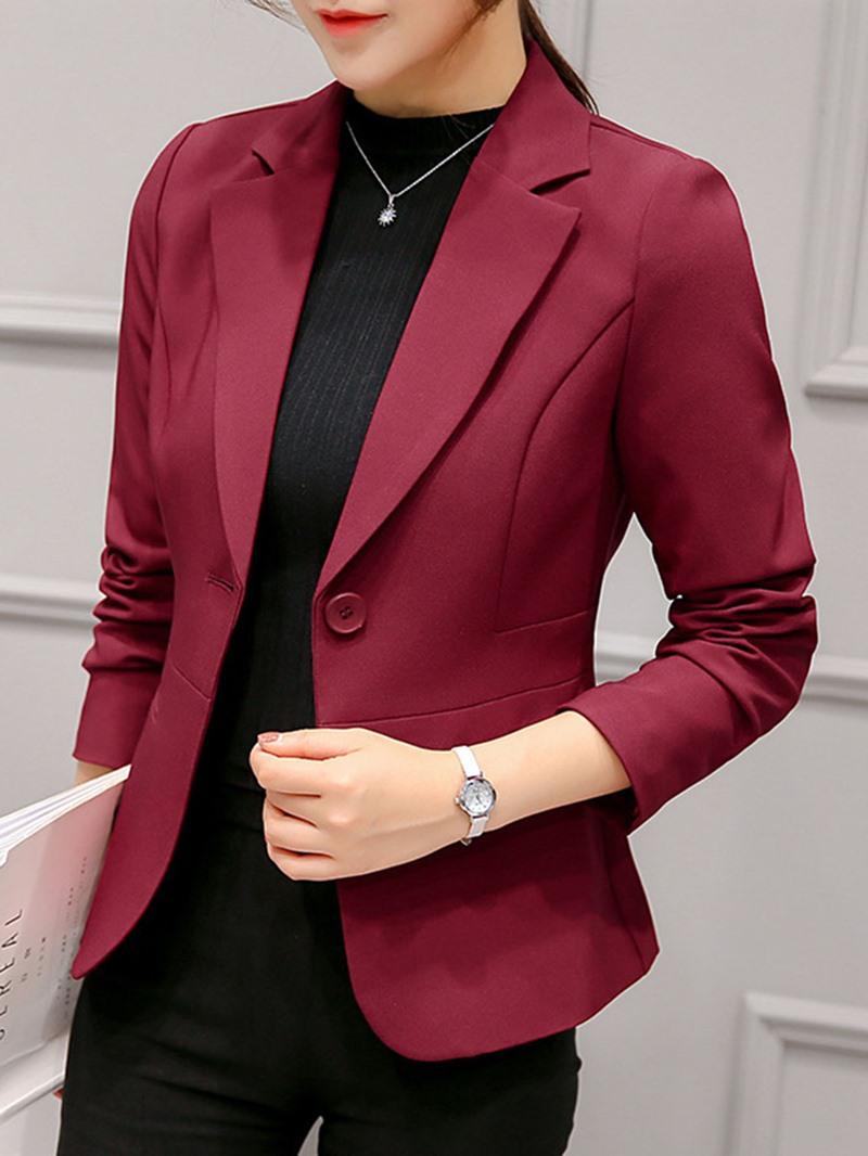 Ericdress Plain One Button Long Sleeve Standard Fall Casual Blazer