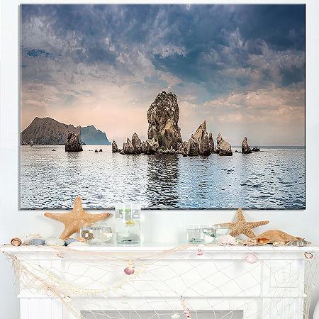 Designart Crimean Peninsula Seashore Panorama Canvas Art, One Size , Blue