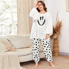 Schlafanzug Set mit Laternenaermeln, Karikatur und Punkten Muster