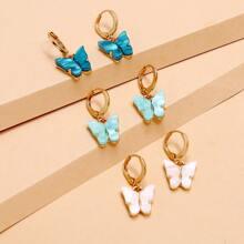 3pairs Butterfly Charm Drop Earrings