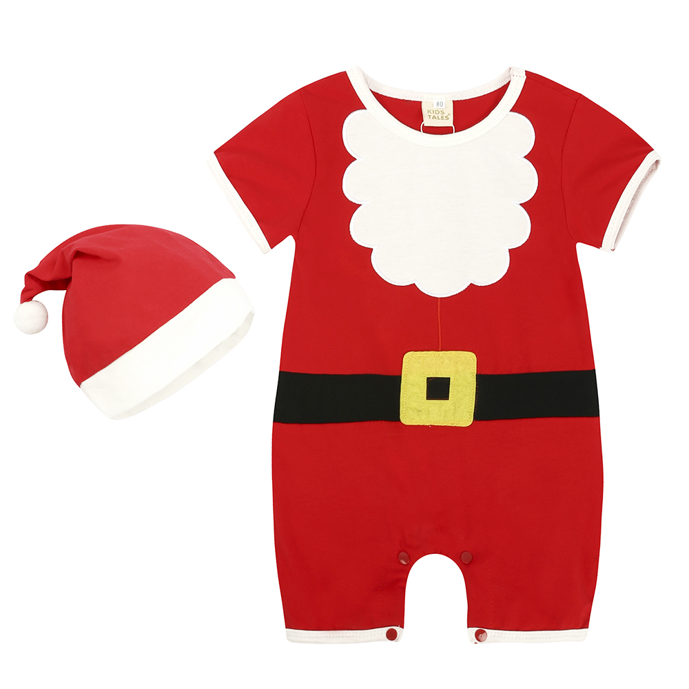 Unisex Baby Short Sleeve Plaid Christmas Lovely Bodysuit