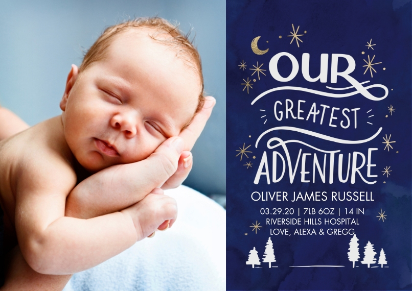 Baby Boy Announcements 5x7 Cards, Standard Cardstock 85lb, Card & Stationery -Baby Adventure by Tumbalina