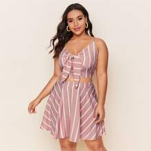 Plus Striped Knot Front Shirred Back Cami Top & Skirt