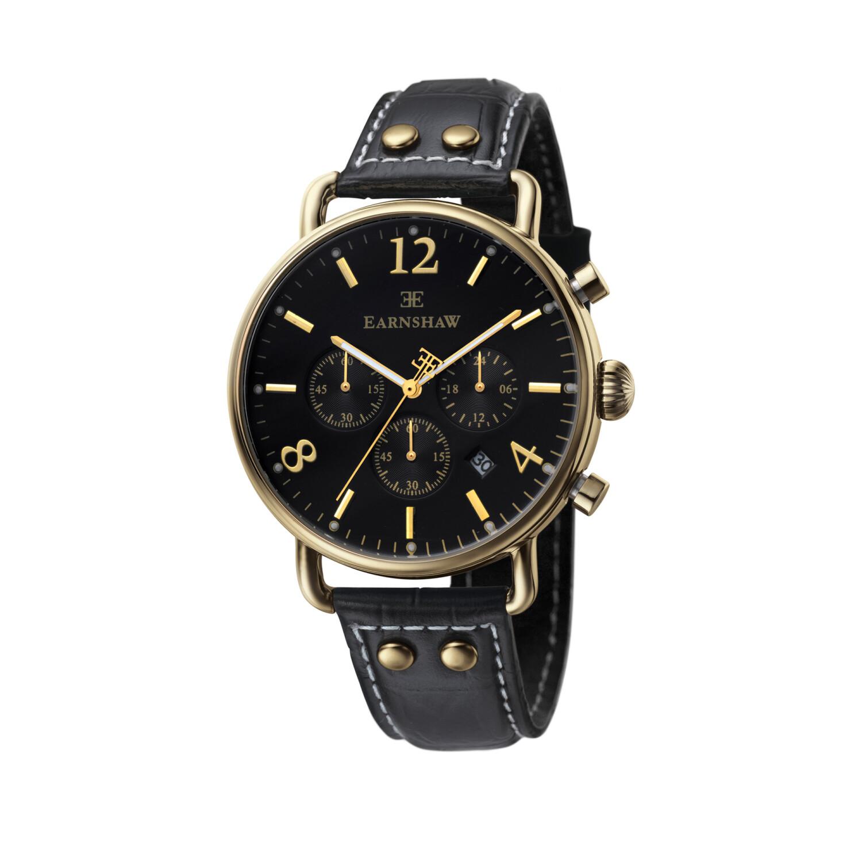Thomas Earnshaw Mens Investigator ES-8001-01 Black Leather Japanese Quartz Dress Watch