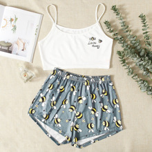 Cartoon Bee And Letter Graphic Pajama Set