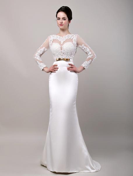 Milanoo Vestido de novia de saten con escote transparente y faja