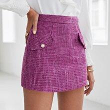 Tweed Hosenrock mit Klappe Detail und Reissverschluss