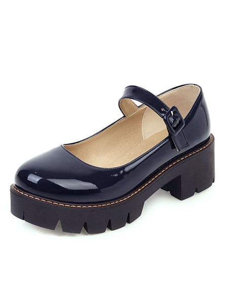 Milanoo Lolita Shoes Black PU Leather Puppy Heel Lolita Pumps