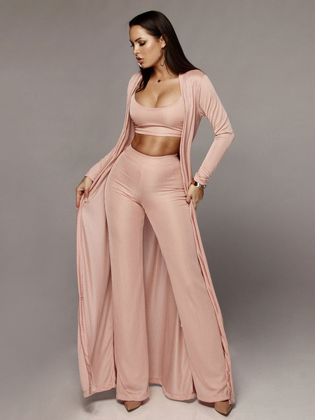 Milanoo 3 Piece Outfit Sexy Crop Top Wide Leg Pants With Duster Coat