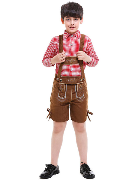 Milanoo Halloween Costumes For Oktoberfest Kids Coffee Brown Suede Pants With Top Cosplay Outfits Wears