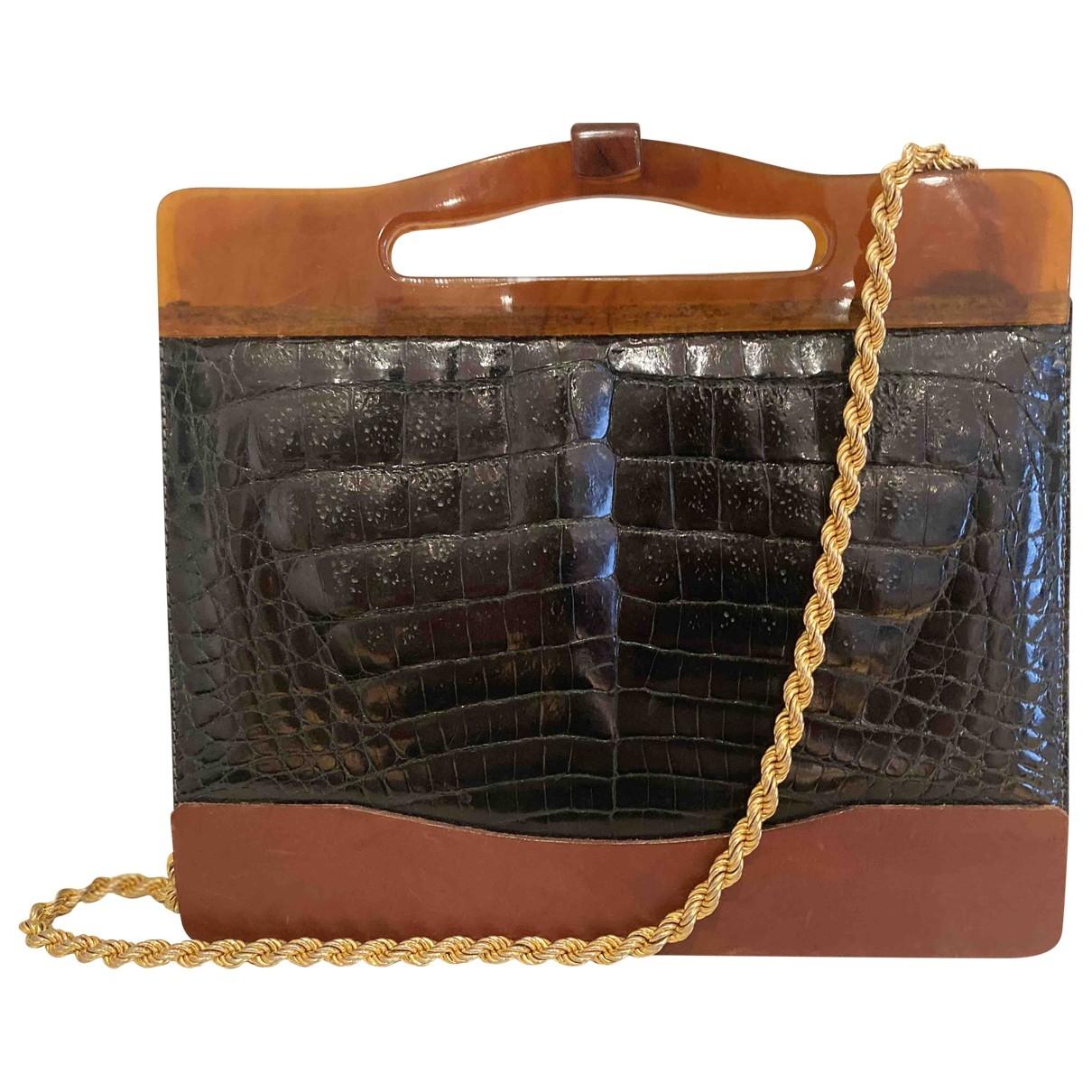 Non Signe / Unsigned \N Handtasche in  Gruen Krokodil