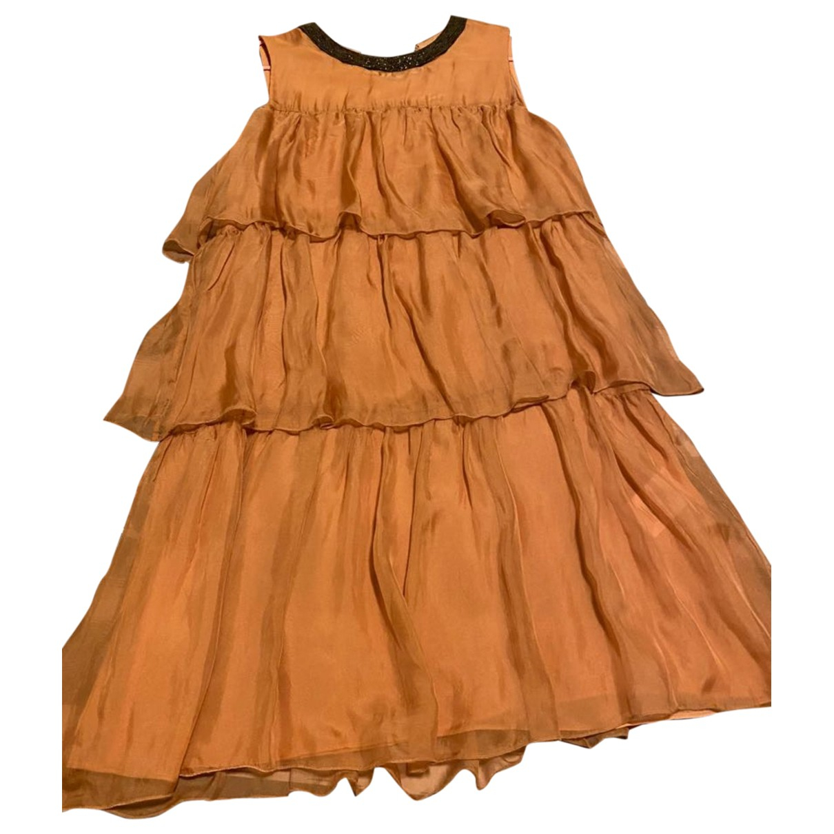 Chloe \N Kleid in  Kamel Seide