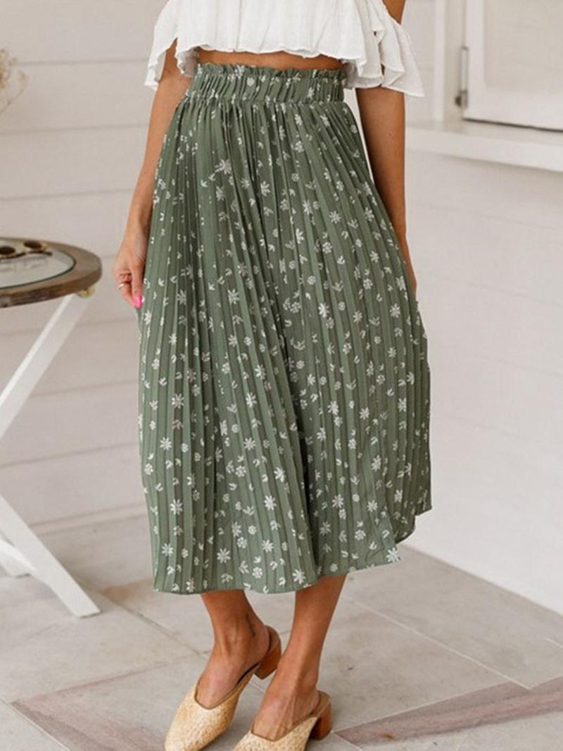 Ericdress Pleated Floral Pleated Elastic Waist Casual Skirt
