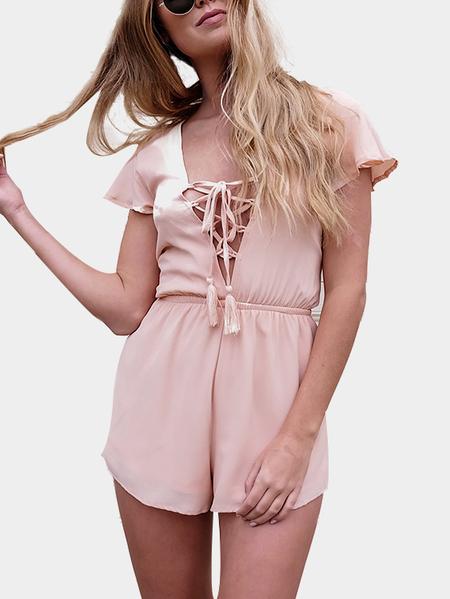 Yoins Fashion Lace-up & Self-tie Back Elastic Waist Playsuit