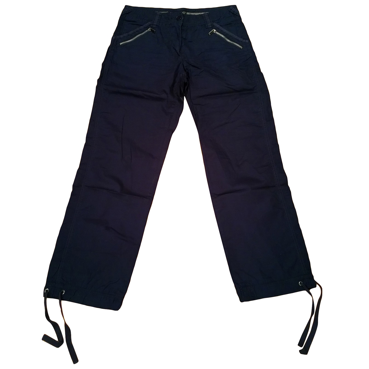 Armani Jeans \N Navy Cotton Trousers for Women 40 IT