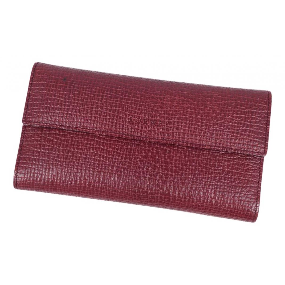 Loewe - Portefeuille   pour femme en cuir - bordeaux