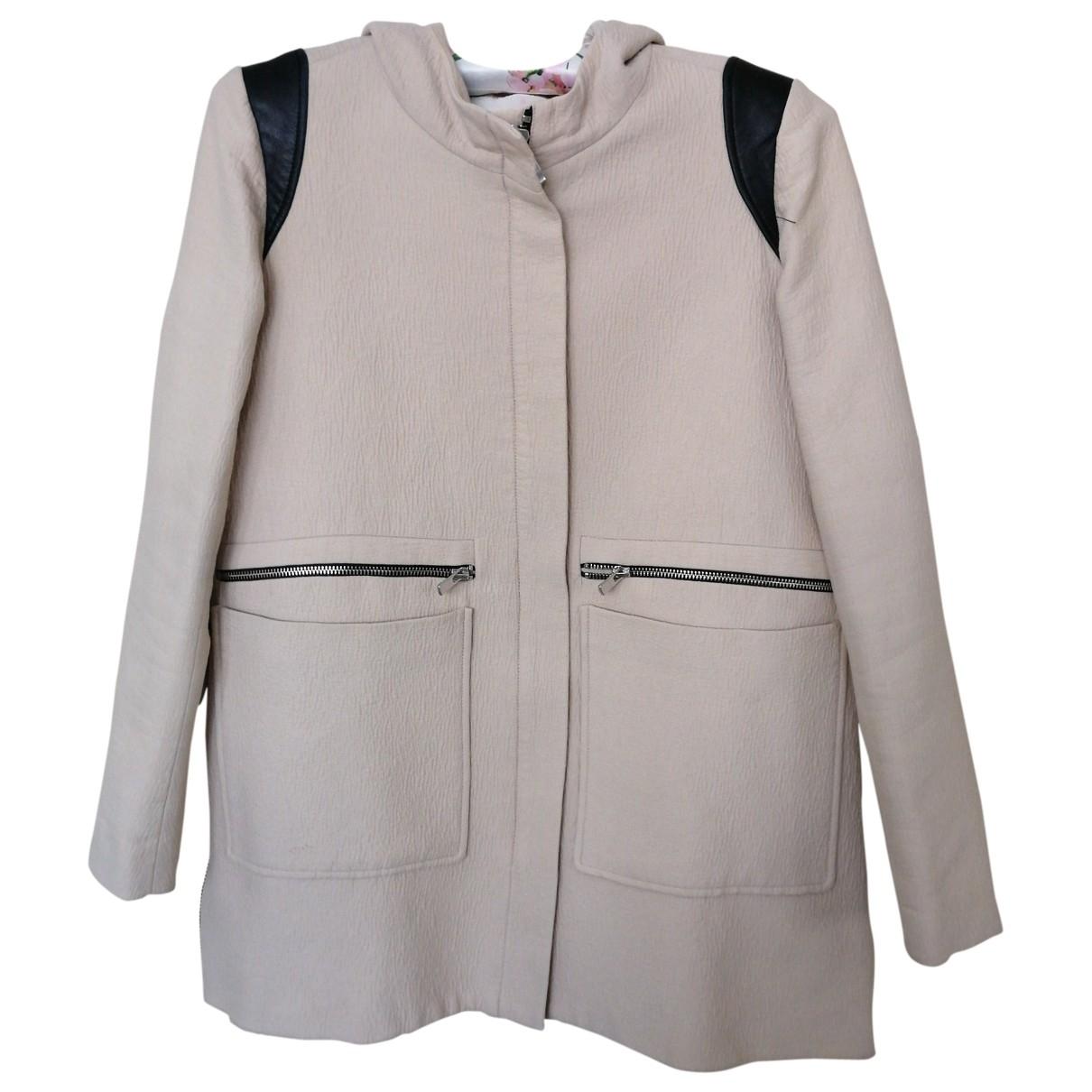 Maje \N Beige Cotton coat for Women 36 FR