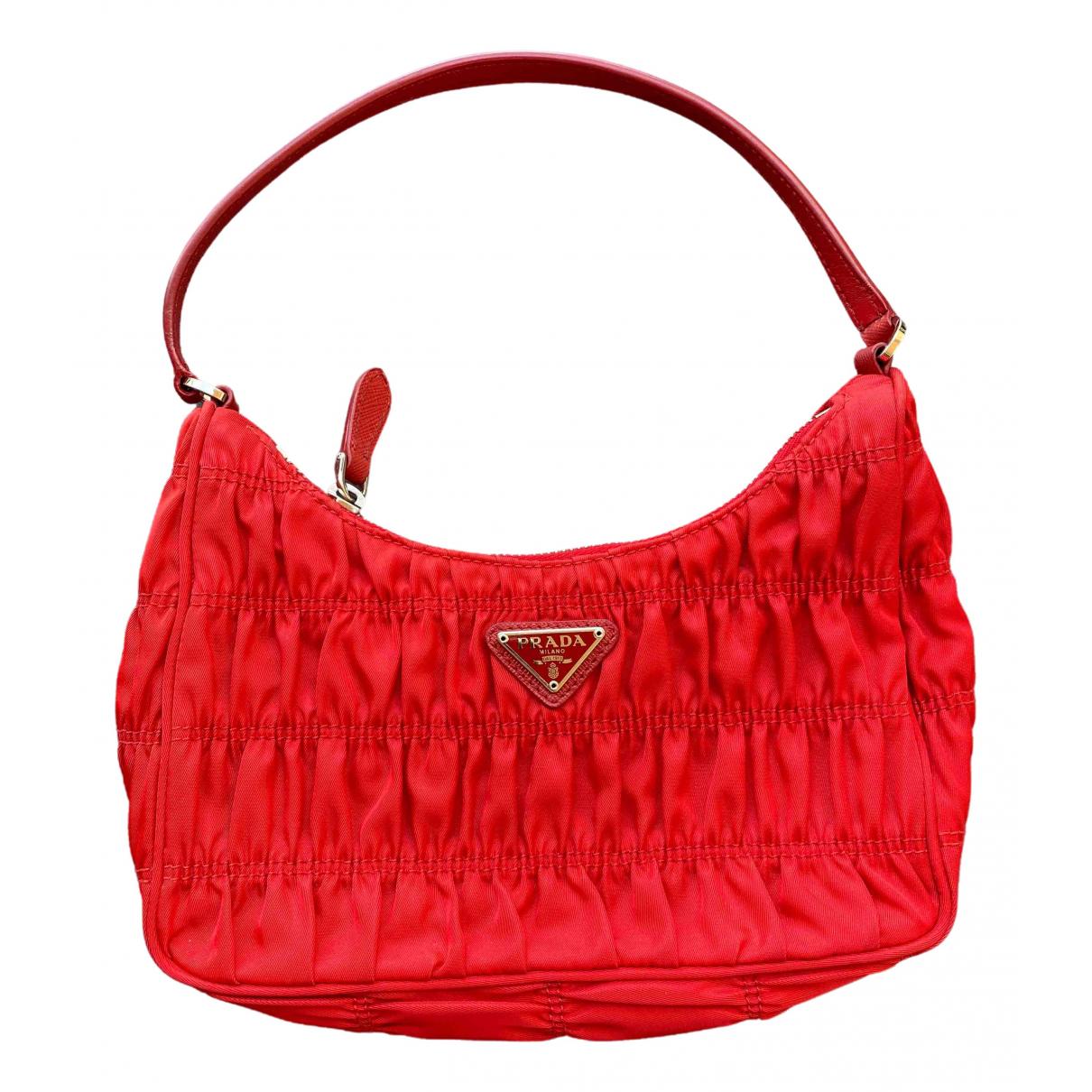 Prada saffiano  Handtasche in  Rot Leinen