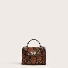 Bolsa cartera con estampado de piel de serpiente con correa de cadena