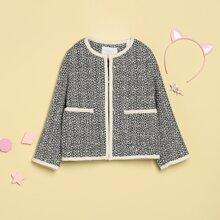 Tweed Mantel mit Kontrast Bindung, Perlen und Knopfen