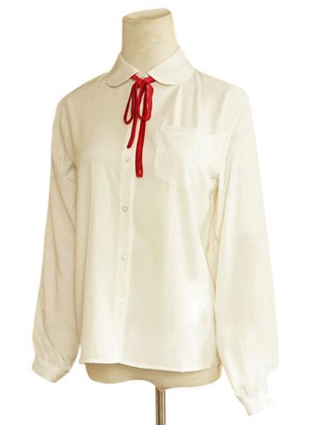 Milanoo Encaje blanco de algodon blusa Lolita para mujeres