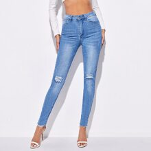 Schmale Jeans mit hoher Taille und Riss