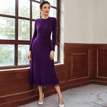 Einfarbiges Strick Pulloverkleid