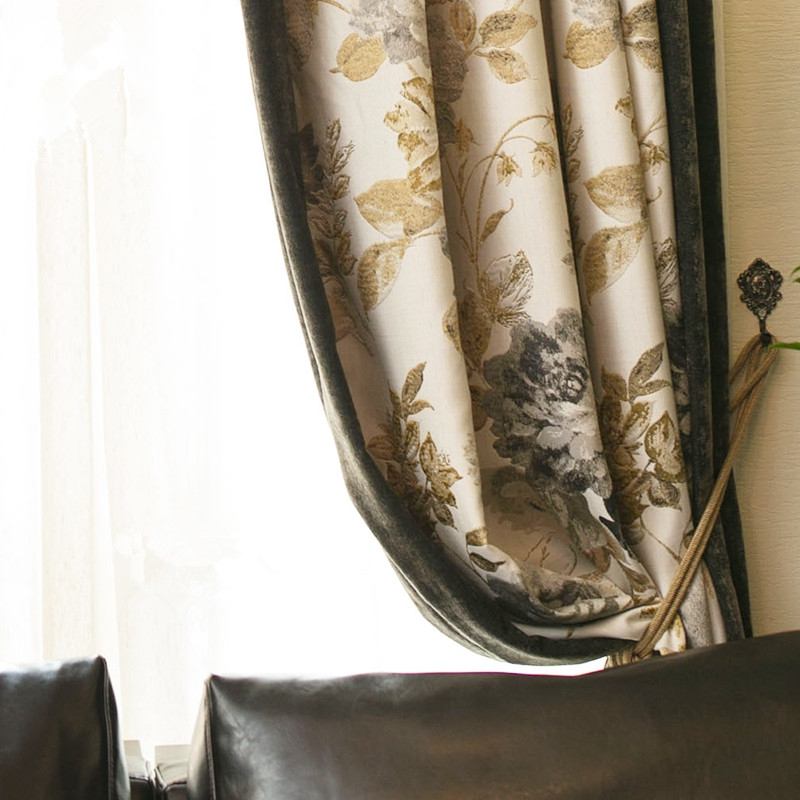 Rustic Peony Jacquard Custom Thermal Blackout Curtain