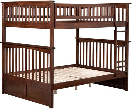 Columbia Collection AB55504 Full Over Full Bunk Bed with Clip on Ladder  Four Steel Connectors  Built-In Modesty Panel  Modern Style and Eco-Friendly
