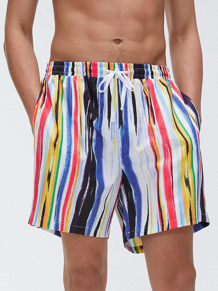 Men Multi Color Graffiti Stripe Shorts Quick Drying Holiday Beach Board Casual Shorts