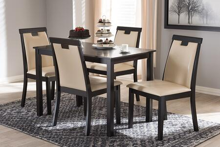 RH5998C-DARK BROWN/BEIGE DINING SET Baxton Studio Evelyn Modern and Contemporary Beige Faux Leather Upholstered and Dark Brown Finished 5-Piece