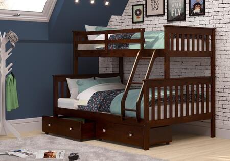 122-3-TFCP_505-CP Twin/Full Mission Bunk Bed W/Dual Under Bed Drawers in Dark Cappuccino