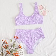 Bikini Badeanzug mit Dalmatiner Muster und hoher Taille