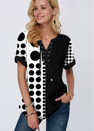 Short Sleeve Polka Dot Lace Up Blouse - L