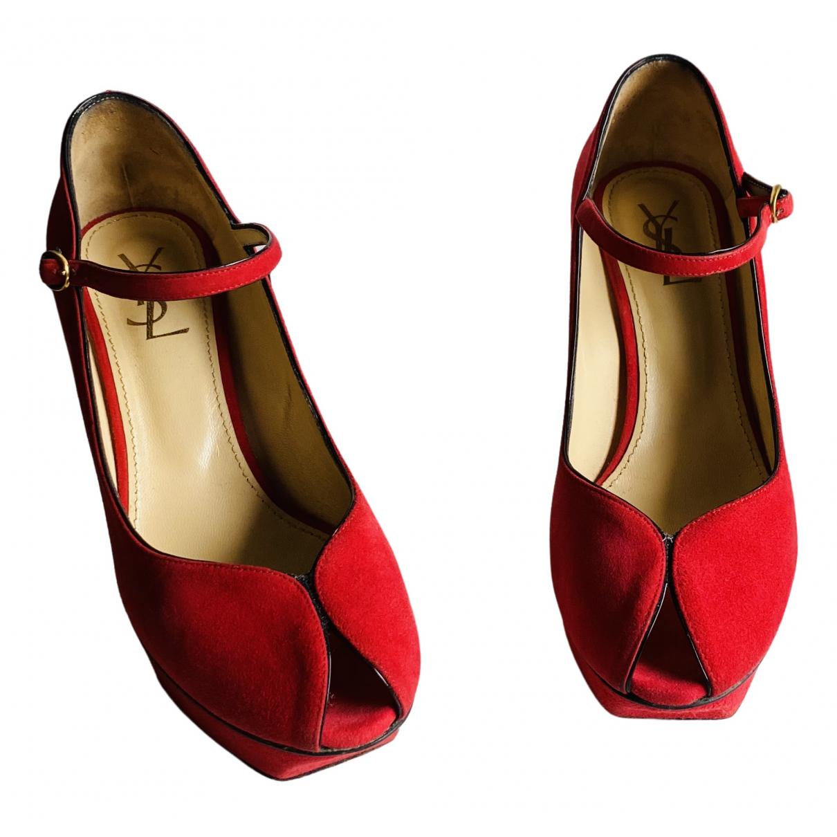 Yves Saint Laurent - Escarpins   pour femme en suede - rouge
