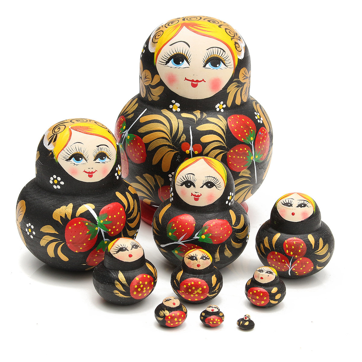 10Pcs Beautiful Russian Strawberry Dolls Children's Intellectual Toys Wooden Handmade Toys Kid Gift
