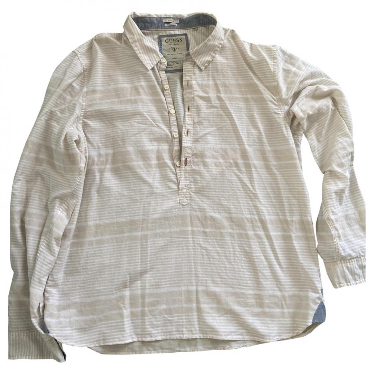 Guess - Chemises   pour homme en coton - ecru