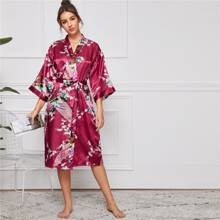 Peacock & Floral Print Belted Satin Robe